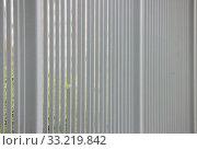Купить «Gray metal fence in the long run as a background and green leaf.», фото № 33219842, снято 9 июля 2020 г. (c) easy Fotostock / Фотобанк Лори