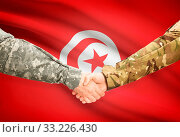 Купить «Soldiers shaking hands with flag on background - Tunisia», фото № 33226430, снято 14 июля 2020 г. (c) age Fotostock / Фотобанк Лори