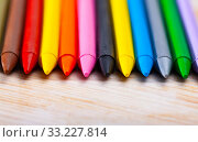 Купить «Many various wax crayons on the table», фото № 33227814, снято 26 февраля 2020 г. (c) Яков Филимонов / Фотобанк Лори