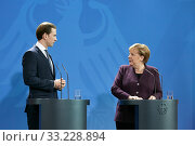 Купить «Berlin, Germany - Federal Chancellor Angela Merkel and the Federal Chancellor of Austria Sebastian Kurz.», фото № 33228894, снято 3 февраля 2020 г. (c) Caro Photoagency / Фотобанк Лори