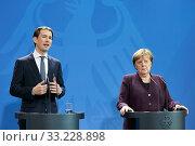 Berlin, Germany - Federal Chancellor Angela Merkel and the Federal Chancellor of Austria Sebastian Kurz. (2020 год). Редакционное фото, агентство Caro Photoagency / Фотобанк Лори