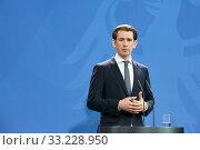 Купить «Berlin, Germany - Sebastian Kurz, Federal Chancellor of the Republic of Austria.», фото № 33228950, снято 3 февраля 2020 г. (c) Caro Photoagency / Фотобанк Лори