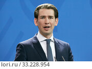 Купить «Berlin, Germany - Sebastian Kurz, Federal Chancellor of the Republic of Austria.», фото № 33228954, снято 3 февраля 2020 г. (c) Caro Photoagency / Фотобанк Лори