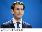 Купить «Berlin, Germany - Sebastian Kurz, Federal Chancellor of the Republic of Austria.», фото № 33228958, снято 3 февраля 2020 г. (c) Caro Photoagency / Фотобанк Лори