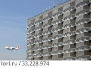 Frankfurt am Main, Germany, Air Portugal aircraft on approach to Frankfurt Airport (2019 год). Редакционное фото, агентство Caro Photoagency / Фотобанк Лори