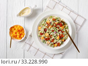 Купить «pasta salad with green peas, fried bacon», фото № 33228990, снято 28 ноября 2019 г. (c) Oksana Zh / Фотобанк Лори