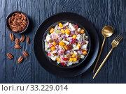 Купить «modern Waldorf salad with pecan nuts, flatlay», фото № 33229014, снято 29 ноября 2019 г. (c) Oksana Zh / Фотобанк Лори