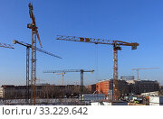 Купить «Berlin, Germany, Baukraene on a construction site at Hildegard-Knef-Platz», фото № 33229642, снято 5 декабря 2019 г. (c) Caro Photoagency / Фотобанк Лори