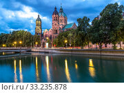 St. Lukas pink church Munich. Стоковое фото, фотограф Vichaya Kiatying-Angsulee / PantherMedia / Фотобанк Лори