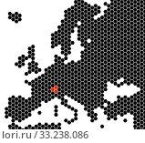 Купить «Map of Europe hexagons - Switzerland», фото № 33238086, снято 25 мая 2020 г. (c) PantherMedia / Фотобанк Лори