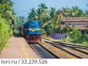 Купить «Пассажирский поезд прибывает на станцию Хиккадува. Шри-Ланка», фото № 33239526, снято 21 февраля 2020 г. (c) Виктор Карасев / Фотобанк Лори