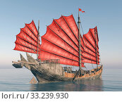 computer generated 3d illustration with a chinese junk. Стоковое фото, фотограф Michael Rosskothen / PantherMedia / Фотобанк Лори