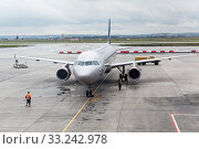 Купить «Aircraft by Aeroflot Airlines is on airfield of the Koltsovo International Airport. PJSC Aeroflot is Russian largest airline of the Russian Federation», фото № 33242978, снято 11 июля 2015 г. (c) Кекяляйнен Андрей / Фотобанк Лори
