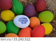 Купить «bright white egg with broken shell and bible text inside with the words: he has risen in the midst of many colorful easter eggs», фото № 33243522, снято 12 июля 2020 г. (c) PantherMedia / Фотобанк Лори