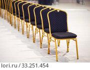 Купить «Row of chairs in a boardroom», фото № 33251454, снято 29 февраля 2020 г. (c) PantherMedia / Фотобанк Лори