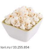 Popcorn in a white bowl. Стоковое фото, фотограф Carlos Santos / PantherMedia / Фотобанк Лори