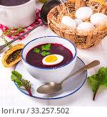 beet green soup with egg. Стоковое фото, фотограф Dzinnik Darius / PantherMedia / Фотобанк Лори