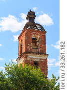 Купить «Saratov Region, Russia. Traveling around the Novoburas district, the sights of the village of Loch, Gremyachka. Church of St. Nicholas the Wonderworker. Ruined building 19th century 1821. Photo series», фото № 33261182, снято 6 июля 2019 г. (c) Светлана Евграфова / Фотобанк Лори