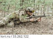 Купить «Handsome man in italian military uniform camouflage coloring Digital Vegetato», фото № 33262122, снято 22 апреля 2017 г. (c) katalinks / Фотобанк Лори