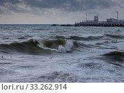 Купить «Краснодарский край, Туапсе, зимний шторм на Чёрном море», фото № 33262914, снято 12 февраля 2020 г. (c) glokaya_kuzdra / Фотобанк Лори