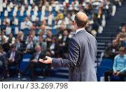 Купить «Public speaker giving talk at Business Event.», фото № 33269798, снято 18 октября 2019 г. (c) Matej Kastelic / Фотобанк Лори
