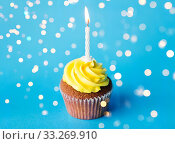 birthday cupcake with one burning candle. Стоковое фото, фотограф Syda Productions / Фотобанк Лори