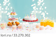 Купить «food and drinks on table at birthday party», фото № 33270302, снято 6 июля 2018 г. (c) Syda Productions / Фотобанк Лори