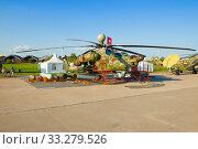 """Вертолет Ми-28НЭ """"Ночной охотник""""— российский ударный вертолет на авиашоу МАКС-2019. Редакционное фото, фотограф Виктор Карасев / Фотобанк Лори"""