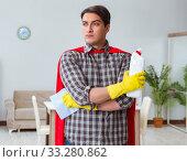 Купить «Super hero cleaner working at home», фото № 33280862, снято 22 декабря 2016 г. (c) Elnur / Фотобанк Лори
