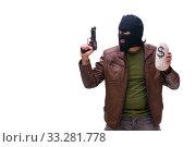 Купить «Robber wearing balaclava isolated on white background», фото № 33281778, снято 17 мая 2019 г. (c) Elnur / Фотобанк Лори