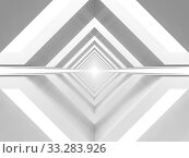 Купить «Abstract white tunnel perspective, computer graphics», иллюстрация № 33283926 (c) EugeneSergeev / Фотобанк Лори