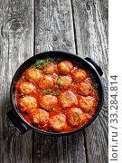 Fried Fish Balls in spicy Tomato Sauce. Стоковое фото, фотограф Oksana Zh / Фотобанк Лори