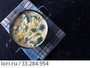 Купить «broccoli and cheddar cheese soup in a pot», фото № 33284954, снято 18 января 2020 г. (c) Oksana Zh / Фотобанк Лори
