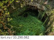 Купить «Deep natural sink hole in Grisel, Aragon, Spain.», фото № 33290082, снято 13 августа 2019 г. (c) easy Fotostock / Фотобанк Лори