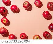 Bright backgroud with apples, copy space in center. Стоковое фото, фотограф Ольга Сергеева / Фотобанк Лори