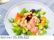 Sea food – salmon ceviche with avocado. Стоковое фото, фотограф Яков Филимонов / Фотобанк Лори