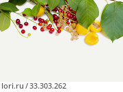 Купить «Summer berry are spread out from above on a white background. Space for an inscription», фото № 33303262, снято 18 июля 2018 г. (c) Екатерина Кузнецова / Фотобанк Лори
