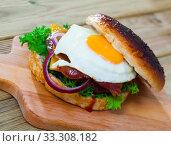 Купить «Cheeseburger with beef patty, fried egg, bacon, vegetables», фото № 33308182, снято 3 августа 2020 г. (c) Яков Филимонов / Фотобанк Лори