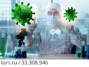 Купить «Doctor researching coronavirus in the lab», фото № 33308946, снято 1 апреля 2020 г. (c) Elnur / Фотобанк Лори