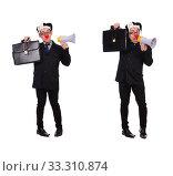 Купить «Businessman clown with loudspeaker on white», фото № 33310874, снято 28 октября 2013 г. (c) Elnur / Фотобанк Лори