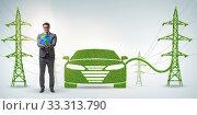 Купить «Electric car and green energy concept», фото № 33313790, снято 10 июля 2020 г. (c) Elnur / Фотобанк Лори
