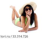 Happy young girl with hat and green bikini. Стоковое фото, фотограф Josep  M Suria / PantherMedia / Фотобанк Лори