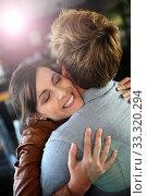 Купить «Brunette girl happy to see her boyfriend again», фото № 33320294, снято 9 апреля 2020 г. (c) PantherMedia / Фотобанк Лори