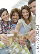 Купить «Closeup of friends cheering with glass of wine», фото № 33332962, снято 12 июля 2020 г. (c) PantherMedia / Фотобанк Лори