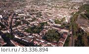 Купить «Panoramic aerial view of Marmande city on Garonne river on sunny summer day, Gironde, France», видеоролик № 33336894, снято 18 июля 2019 г. (c) Яков Филимонов / Фотобанк Лори