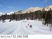 Купить «Beautiful mountains covered with snow. Sunny day and blue sky on a frosty day», фото № 33340598, снято 5 марта 2019 г. (c) Олег Хархан / Фотобанк Лори