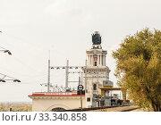 Купить «Цимлянская ГЭС, главный корпус», фото № 33340858, снято 12 октября 2017 г. (c) Игорь Тарасов / Фотобанк Лори