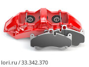 Купить «Car brakes. Red caliper and pads. Dsk braking system parts.», фото № 33342370, снято 13 июля 2020 г. (c) Maksym Yemelyanov / Фотобанк Лори