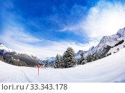 Купить «Alpine ski slope and view Mont-Blanc Chamonix Alps», фото № 33343178, снято 2 марта 2019 г. (c) Сергей Новиков / Фотобанк Лори