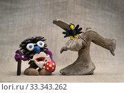 Купить «Леший из шишки и пластилиновая ворона», фото № 33343262, снято 23 февраля 2020 г. (c) Dmitry29 / Фотобанк Лори